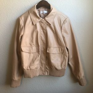 New York and Company nude faux leather jacket